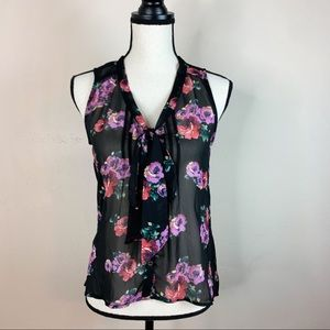 Xhilaration Floral Sleeveless Sheer Blouse Top